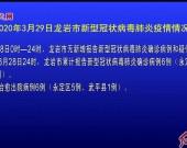 2020年3月29日龙岩市新型冠状病毒肺炎疫情情况