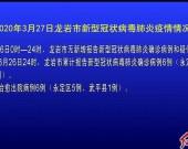 2020年3月27日龙岩市新型冠状病毒肺炎疫情情况