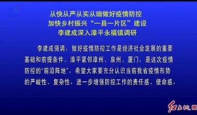 """从快从严从实从细做好疫情防控加快乡村振兴""""一县一片区""""建设 李建成深入漳平永福镇调研"""