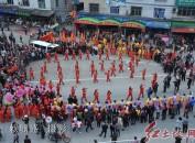 龍巖市永定區湖雷鎮湖瑤村賴氏群眾舉祭祖民俗踩街活動